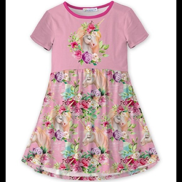 🦄 Pink Floral Unicorn A-line Dress 🦄